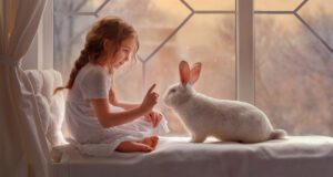 Cute-Girl-and-Rabbit-Image