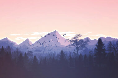 Forest-Mountains-Birds-Art-Image