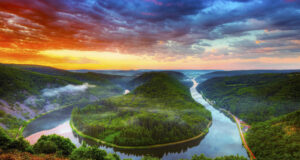 River-Between-Green-Mountains-Image