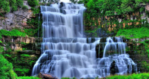 Waterfall-Near-Green-Leaf-Plants-HD-Image